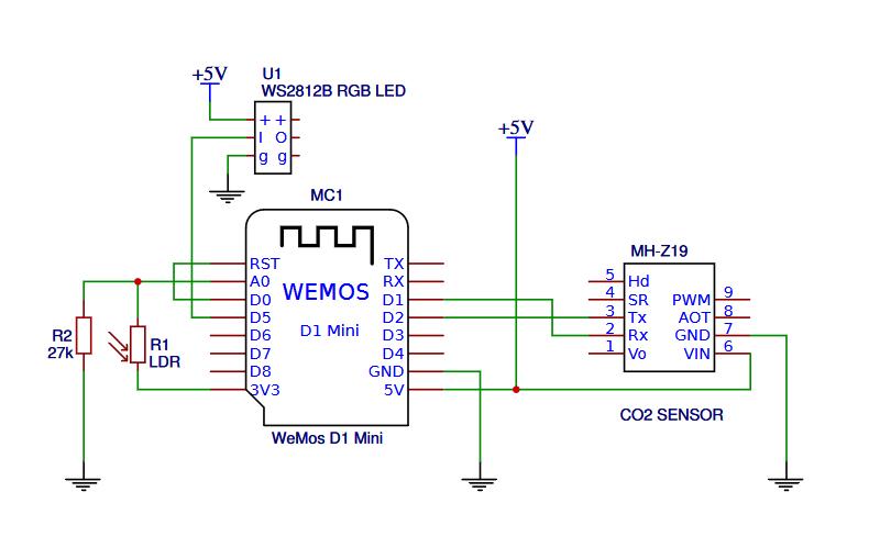 Arduino CO2-Ampel mit MH-Z19 Luftqualitätampel Kohlendioxid Ampel