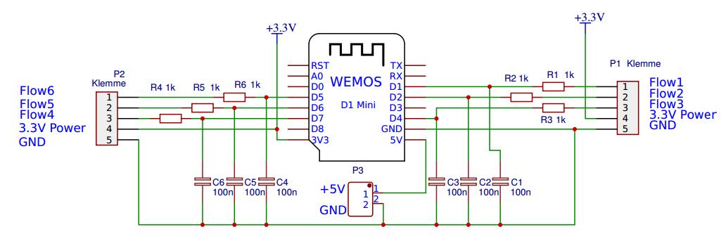 6-Fach Impulszähler mit WeMos für flow Sensor oder Stromzähler