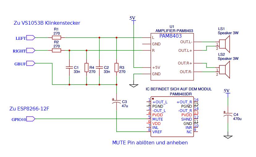 Схема VS1053 PAM8403 Интернет Радиоприемник Подавление шума